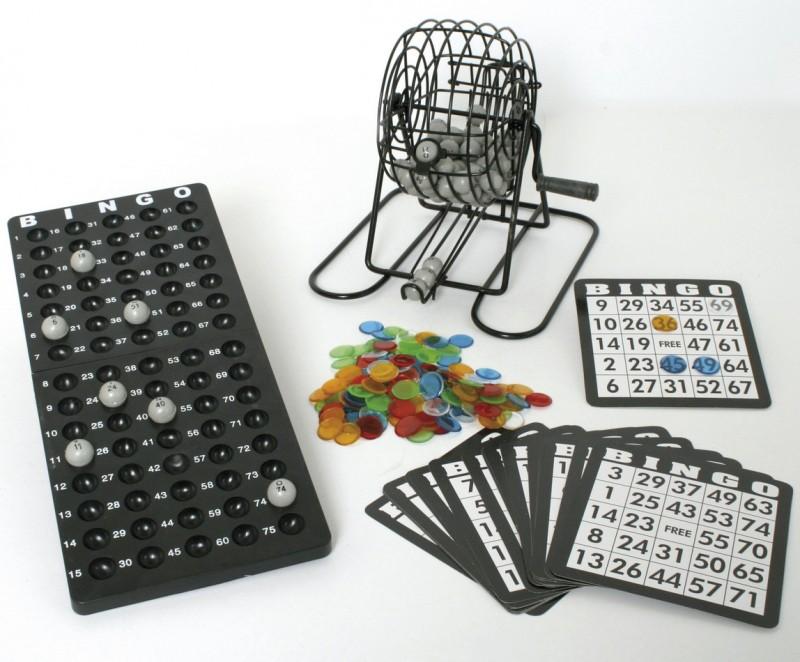 EDEL BINGO Spiel Lotto Glücksspiel Brett Trommel mit Handkurbel schwarz Senioren