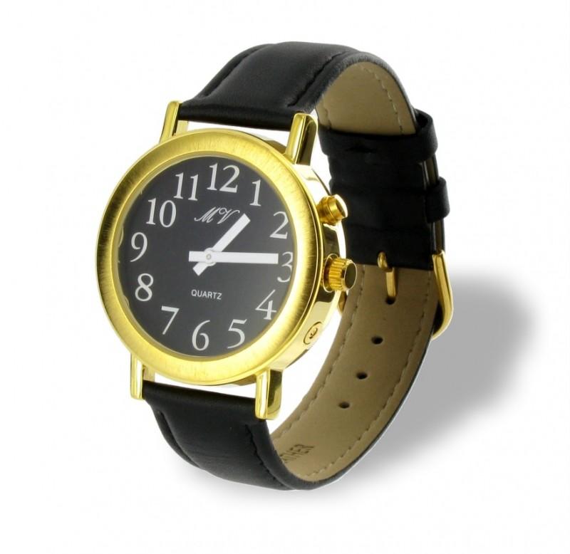 sprechende armbanduhr uhr schwarzes leder armband mit sprachansage herren damen ebay. Black Bedroom Furniture Sets. Home Design Ideas