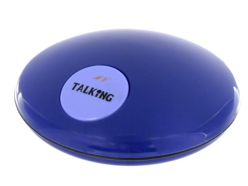 EDEL Sprechender UFO Wecker BLAU Uhrzeit auf Knopfdruck Tonwidergabe Uhr Blinde