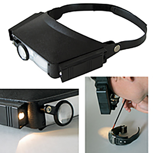PROFI Stirnlupe Lupe Stirn mit LED Beleuchtung Licht Lampe Leuchte Lupenbrille