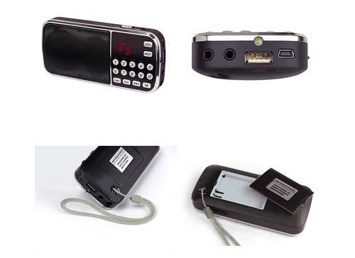 PROFI kleines Radio UKW mini MP3 Player USB Micro SD Kopförer Akku Batterie