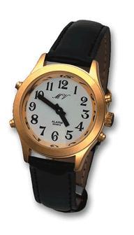 DAMEN Armbanduhr mit Ansage des Datums Weckfunktion Gold Lederarmband Damenuhr