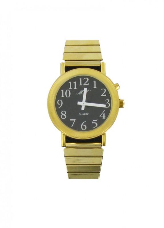 Sprechende Uhr Armbanduhr goldene Uhr Metall Armband Uhrzeit Ansage DAMEN HERREN