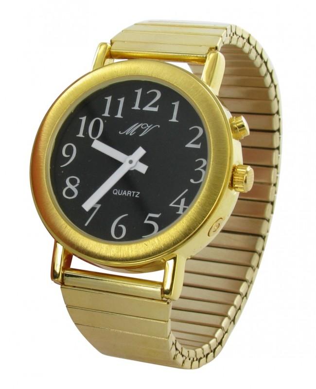 HERREN Sprechende Uhr Armbanduhr goldene Uhr mit Metall Armband Uhrzeit Ansage