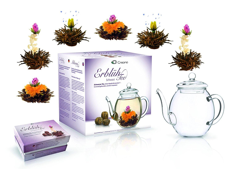 LUXUS Teekanne Kanne ErblühTee Geschenkset Schwarzer Tee Schwarztee + Teebeutel
