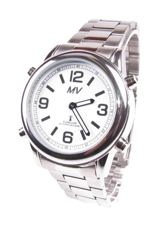 HERREN FUNKUHR Sprechende Funk Armbanduhr Silber Metall Armband Zeitansage Uhr