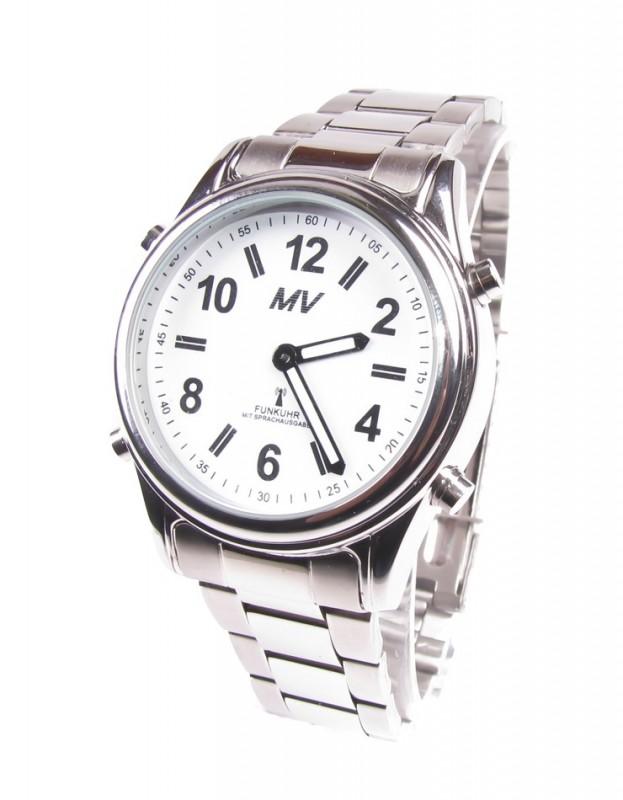 FUNKUHR Sprechende Funk Armbanduhr Silber Metall Armband Zeitansage Uhr