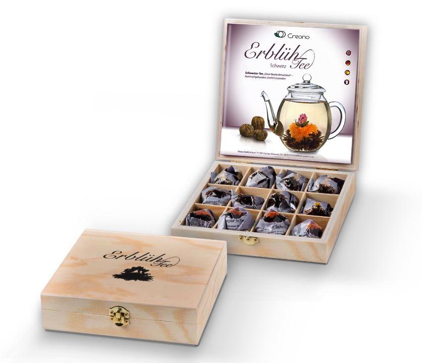 LUXUS ErblühTee Holzbox Schwarzer Tee Präsentbox Teebeutel blüht wirklich auf