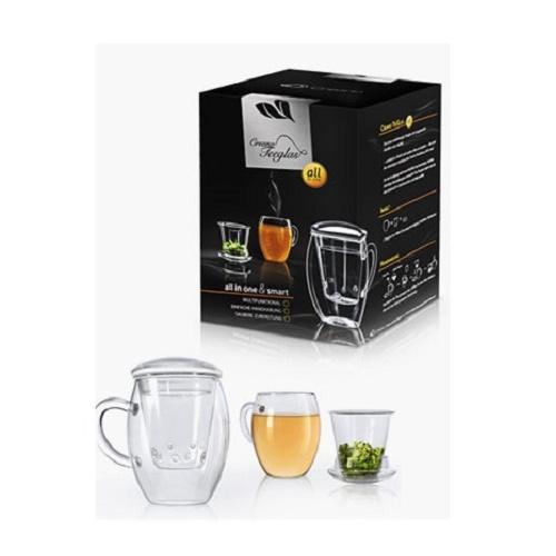 LUXUS Erblühtee Teeglas Tee Tasse mit Filter Creano all-in-one Geschenkideen
