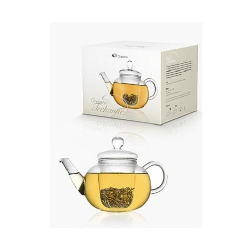 LUXUS Designer Glas Teekanne mit Glasfilter Kanne Tee HANDARBEIT Creano Filter
