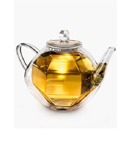 LUXUS Designer Doppelwandige Teekanne DiamondDesign Creano Kanne Glas Tee