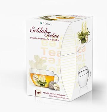 LUXUS ErblühTeelini Geschenkset Weißer Tee Teetasse Tasse aus Glas + 6 Teebeutel