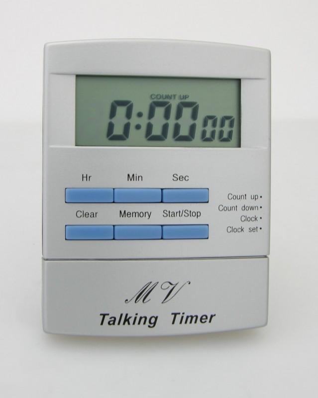 Sprechender Kurzzeitmesser Eieruhr Küchenuhr spricht Uhr Uhrzeit Countdown + up