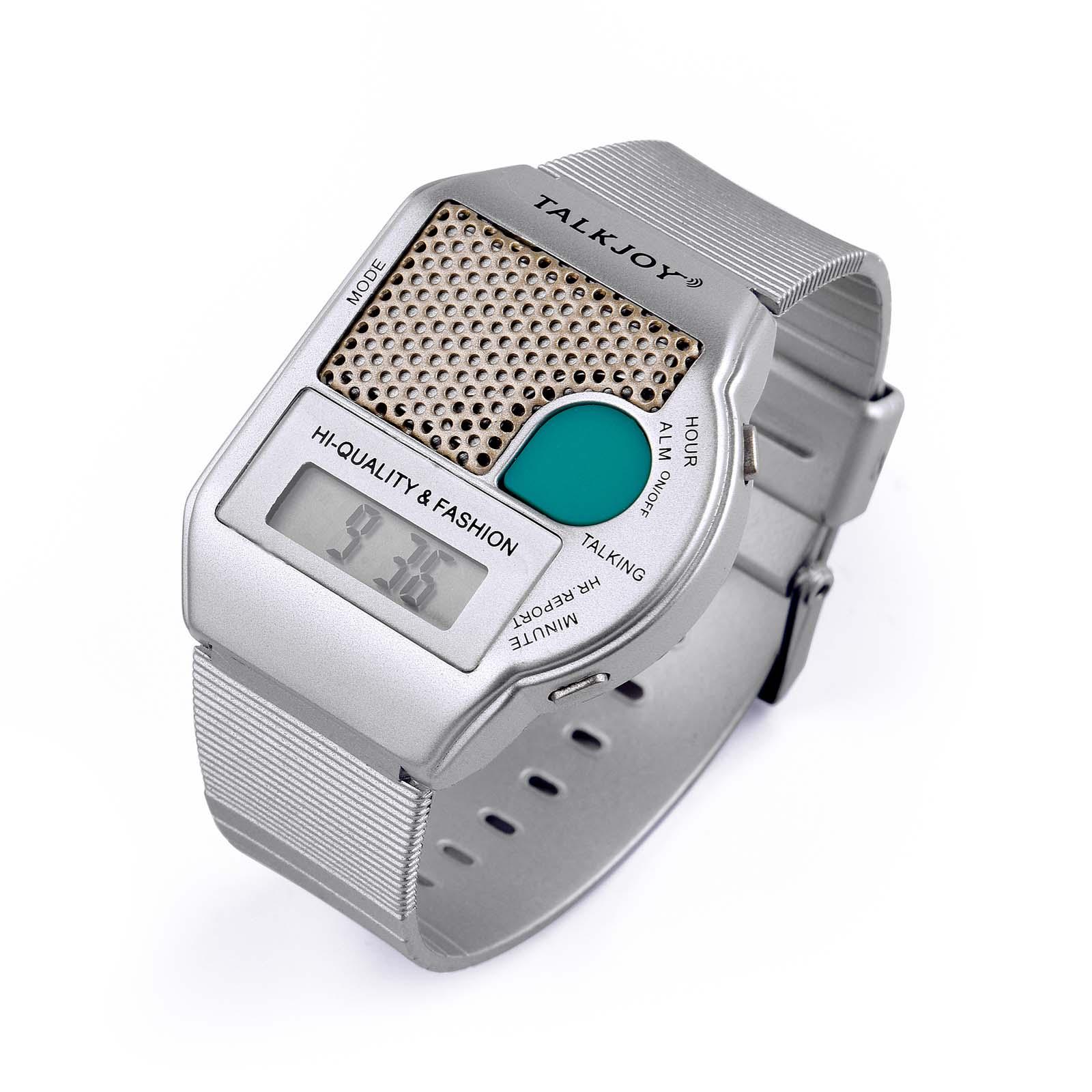 SILBER Sprechende Armbanduhr Big Button Blindenuhr ALARM Wecker Senioren Uhr
