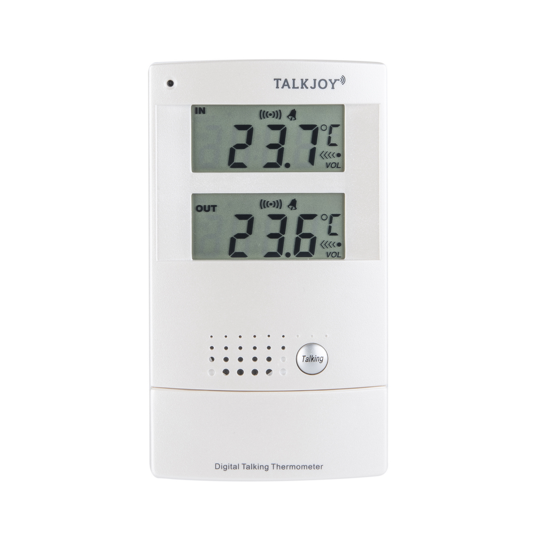 ES sprechendes Innen- Außenthermometer Wecker Thermometer LCD Temperatur Ansage